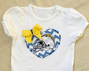 SALE 18-24M **RTG ** Girls Onesie Chargers Football with Hand-stitched Details San Diego Bolts Blue Yellow Gold
