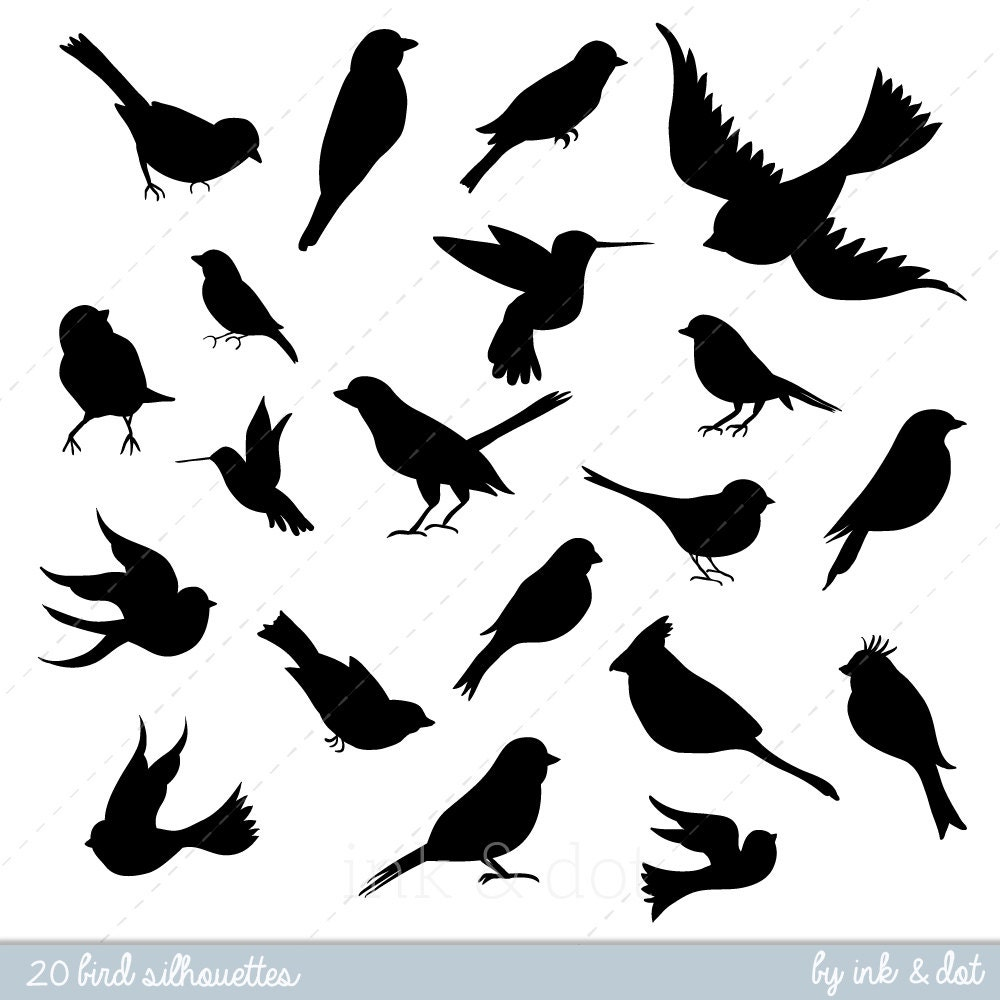 Bird Clip art Bird Silhouette Digital Clipart Scrapbooking