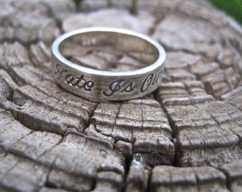 Vintage 925 Sterling Silver Our Fate Is Our Destiny Ring