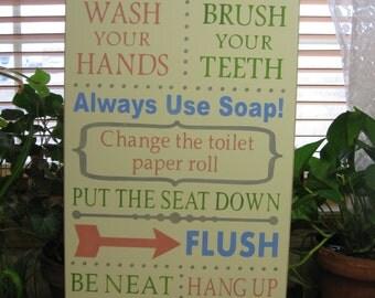 Bathroom Sign Etsy wood bathroom sign | etsy