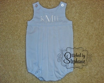 Custom embroidered personalized monogrammed 3 initial light blue heirloom baby boys pique bubble sunsuit