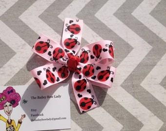 Pink Ladybug Hair Bow