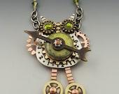 Steampunk, Steampunk Jewelry, Owls, Steampunk Owl Necklace, Owl Pin, Steampunk Jewelry, Owl Necklace, Owl Jewelry - RP0308