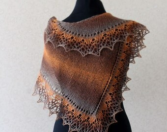 Elegant wool lace scarf - honey, brown, grey