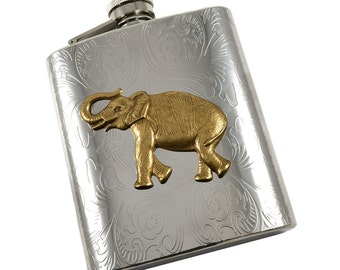 Elephant  Flask Silver -  Alabama  Drinking Flask