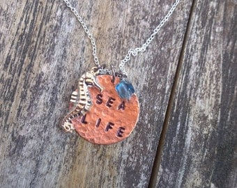 Nautical Necklace, Nautical Charm Necklace, Sailing Necklace, Seahorse Necklace, Copper Stamped Necklace, Ocean Jewelry