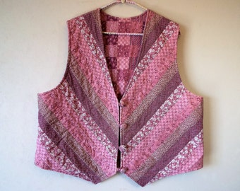 Vintage Vest Pieced and Quilted Rose Pink