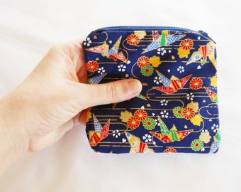 Coin Purse Japanese Cotton - Kimono Fabric - Zipper Coin Purse Pouch - Change Purse Makeup Bag - Cranes