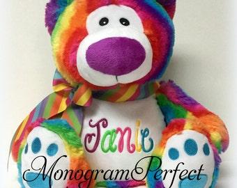 Jumbo Personalized Rainbow Bear Stuffed Animal