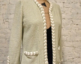 80s Adolfo Boucle Jacket - All Handmade - Braided Trim - Wool
