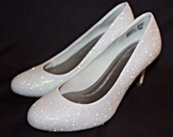 White Glitter Bridal Shoes - Wedding Heels