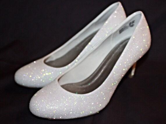 white glitter bridal shoes wedding heels by ashleybrooksdesigns