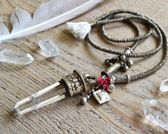 Crystal jewelry, bohemian necklace, quartz point necklace, crystal necklace, boho jewelry, boho necklace