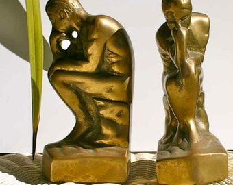 "Art Deco style bookends ""The Thinker"""
