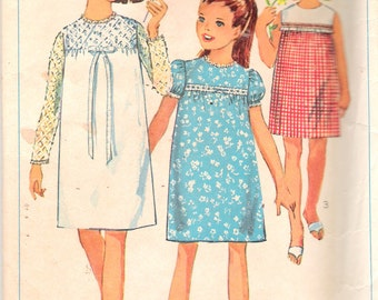 """Vintage 1965 Simplicity 6379 Girls' & Chubbies One Piece Dress Sewing Pattern Size 7 Breast 25"""""""