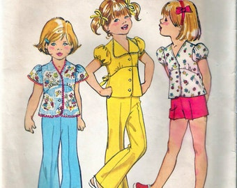Vintage 1974 Simplicity 6419 Child's Bell-Bottom Pants or Shorts and Top Sewing Pattern Size 3 Breast 22""