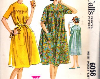 Vintage 1961 McCall's 6056 Misses' Lounger Sewing Pattern Size 14 Bust 34""
