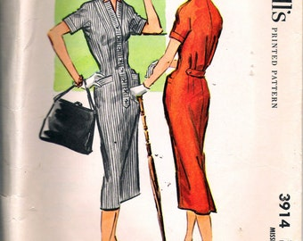 Vintage 1956 McCall's 3914 Misses Slim Dress Sewing Pattern Size 10 Bust 31""