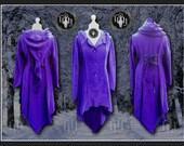 Plus Size Titania Coat, Polar Fleece,  Steampunk, Victorian, Elven, Pixie Hood, Corset Lacing