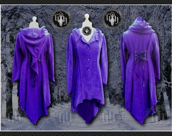 Plus Size Titania Coat, Polar Fleece,  Steampunk, Victorian, Elven, Pixie Hood, Corset Lacing