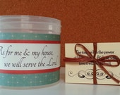 """Scripture Jar Filled With Your Choice of Verse Cards, As For Me & My House, Joshua 24: 15, """"Calico Blue"""""""