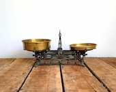 Antique Scale, French Balance Scale, Ornate Cast Iron Scale with Original Blue and Gold Paint and Brass Pans, 3 Kilo Balance