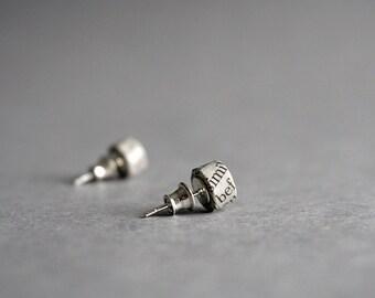 Newspaper stud earrings - 1st Anniversary gift for her