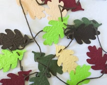 Handmade Oak Leaf Garland - 5 ft adjustable garland - Fall Oak Leaf Garland - Autumn garland - oak leaves - burgundy - lime green - beige