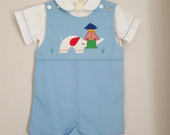 Vintage Boys Blue Jon Jon Romper with Elephant and Boy with White Shirt- Size 24 months- New, never worn