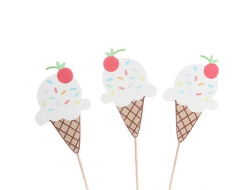 Ice Cream Cupcake Topper / Ice Cream Party / Ice Cream Birthday / Ice Cream Sundae / Ice Cream Cone / Ice Cream Party Decorations /