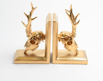 Deer Skull Bookends in Gold - Resin Deer Skull Bookends - White Faux Taxidermy - Gold Home Decor - Office Library Decor - Book Storage
