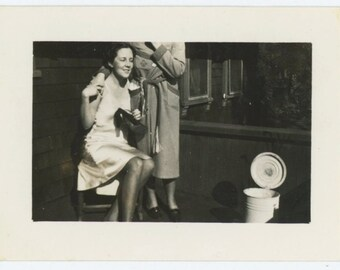 Couple in Sleep Attire, Trash Can, c1930s: Vintage Snapshot Photo (67486)