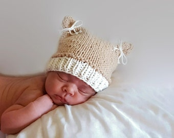 Knit Baby Bear Hat, Knit Baby Hat, Knit Cotton Baby Hat, Newborn Knit Baby Hat, Baby Photo Prop