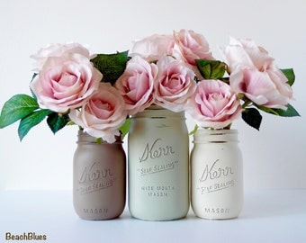 Rustic Wedding Decor / Home Decor / Painted Mason Jar / Centerpiece / Vase / Earth tones / neutral home decor / cream brown olive / set of 3