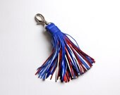 Leather Tassel, Leather keychain, Red, Blue, White