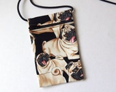 """Pouch Zip Bag PUGS Fabric.  Great for walkers, markets, travel. Cell phone pouch. small fabric purse. pug puppy purse. 6.5"""" x 4.25"""""""