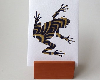 "Frog Fabric Greeting Card -  6"" x 4"" white Textured blank with envelope.  Funky Frog. Handmade Cards. Hop hop.  Navy blue with gold accents"