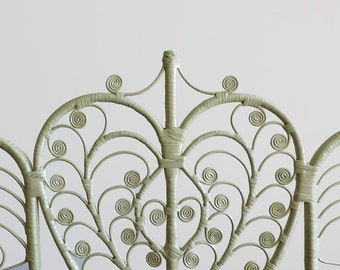 Vintage Twin Wicker Headboard Sage Green Scroll Rattan
