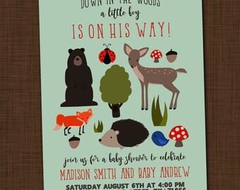 Woodland baby shower invitation printable Rustic baby shower invite Baby boy shower invitation Forest friends party invitation Animal