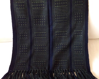 Vintage Ethnic Tribal Green and Black Woven Textile