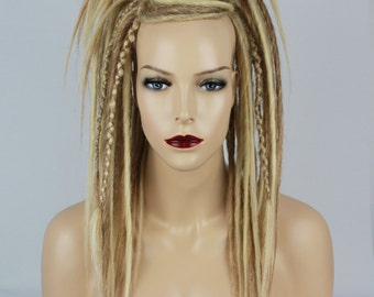 Ash, Dark & Platinum Blonde Dread Falls With Criss-Crossed, 20 Inches Long