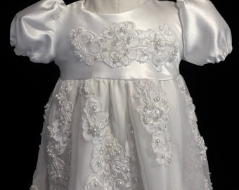Ornate Christening Baby Girl Gown with Pearls, Lace, Sequins, 3-6 months