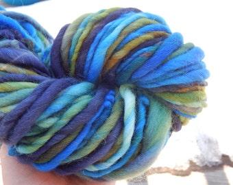 Hand spun yarn - hand painted merino wool blend yarn - thick and thin, bulky - 69 yards, 4 oz.