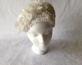 Vintage Ladies White woven straw Half Hat -White Bridal  Half Hat Crown Headpiece - HBJBB100