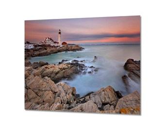 Seascape Metal Print, Lighthouse Decor, Metal Wall Art, Maine Coast Photography, Portland Head Light Sunset, Coastal Artwork, Teal Pink Blue