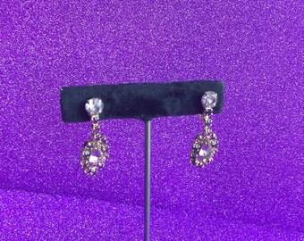 Vintage Purple Rhinestone Drop Earrings