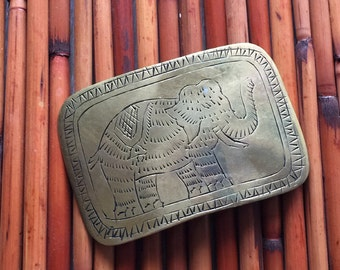 Vintage Etched Elephant Brass Belt Buckle, Made In India
