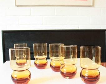 Set Of 6 Amber Glasses Mid Century Polish