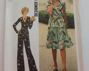 """7295 Simplicity Size 10 Bust 32 1/2"""" Miss Designer Fashion Two Piece Dress or Top Pants Vintage 1975 Uncut"""