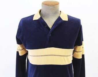 1970s Velour Men's Disco Era Vintage Navy Blue & Beige Striped Long Sleeve Pullover Shirt by Royal Knight - Size MEDIUM